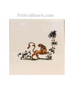 Carreau en faience blanche 15x15 cm pose horizontale reproduction moustiers polychrome motif le lion de mythologie