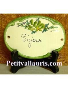 Plaque ovale Séjour fleur verte fin de série
