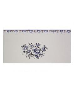 carrelage mural 10 x 20 en faience décor gros bouquet de fleurs tradition bleu avec frise