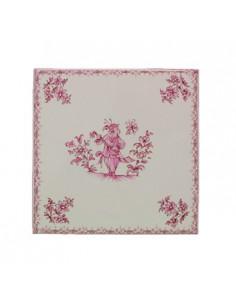 Carreau 20 x20 en faience blanche décor fleurs médium et motif central décor inspiration vieux moustiers rose