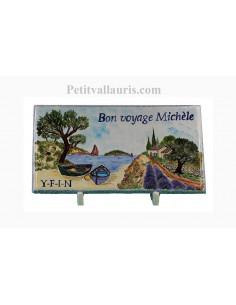 Plaque funéraire en céramique modèle rectangulaire motif paysage calanque de provence avec votre personnalisation