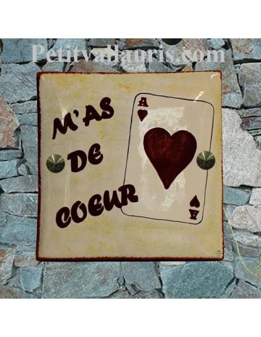 Grande plaque de maison en céramique modèle carrée motif artisanal As de coeur + texte personnalisé