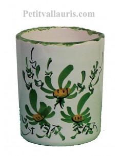 Porte crayon et maquillage décor Fleuri vert