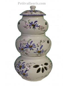 Conservateur pour Ail, Oignon et Echalotte 3 pots empilés décor fleurs bleues