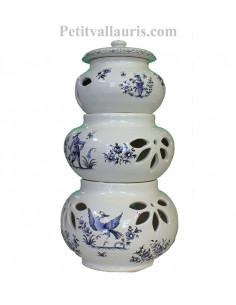 Conservateur pour Ail, Oignon et Echalotte 3 pots empilés décor Tradition bleu