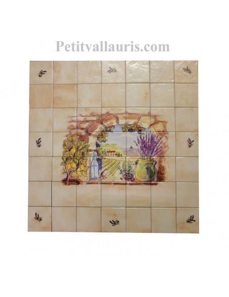 Fresque sur carreaux en faïence 10x10 beiges motif provençal Trompe L'oeil horizontal