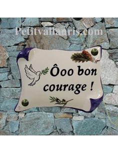 Plaque de Maison en faience modèle parchemin motif artisanal colombe + brin d'olivier et cigale inscription personnaliséee