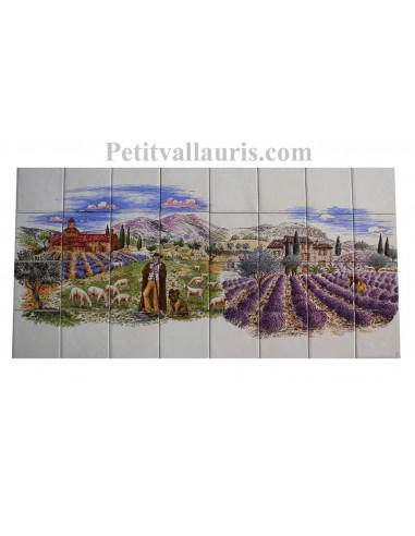 Grande fresque sur carreaux blanc décor champs de lavande et monastère + berger 40 x 80 cm