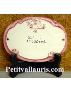 Plaque ovale Cuisine tradition vieux moustiers rose Fin de série