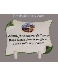 Plaque funéraire céramique modèle petit parchemin à poser sur une tombe motif littoral atlantique + personnalisation