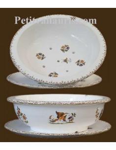 Égoutte et rince fruits avec assiette en faience blanche motif reproduction Vieux Moustiers polychrome