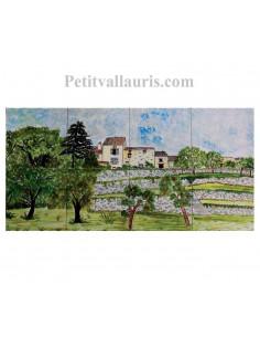 Fresque murale sur carreaux de faience décor artisanal modèle paysage campagne Lot-Tarn 30x60