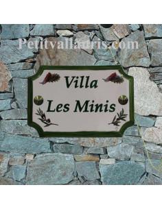 Plaque de Maison en céramique aux angles incurvés motif brins d'olivier et cigales + inscription personnalisée