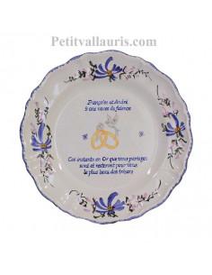 Assiette anniversaire de mariage souvenir noces d'or personnalisable modèle Louis XV décor fleurs bleues