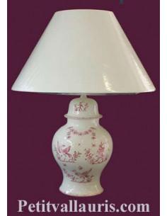 Pied de Lampe en faïence blanche modèle chinois décor reproduction Vieux Moustiers rose