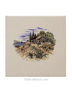Carreau en faience blanche décor paysage provençal + cabanon + olivier 15 x 15 cm