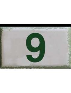 Petite plaque murale en faience avec inscription Chiffre au détail coloris vert avec 2 chiffres