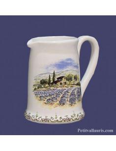 Petit pot à lait en faience blanche décor motifs paysages provençaux
