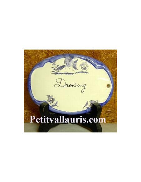 Plaque ovale Dressing tradition vieux moustiers bleu Fin de série
