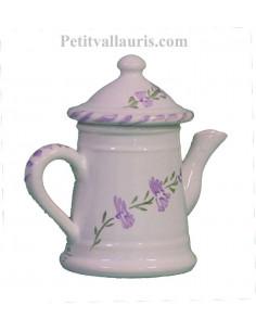 Petite Cafetière miniature décorative en faïence au décor motifs artisanaux fleurs de lavande mauve-parme collection Nana'60