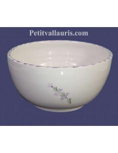 Grand Saladier en faience blanche au au décor motifs artisanaux fleurs de lavande mauve-parme collection Nana'60