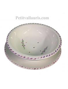 Égoutte et rince fruits avec assiette en faience blanche motifs artisanaux fleurs de lavande mauve-parme collection Nana'60