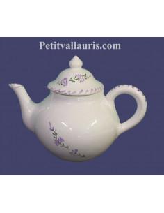 Théière en céramique blanche motifs artisanaux fleurs de lavande mauve-parme collection Nana'60