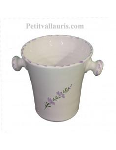 Seau à glaçons en céramique décor motifs artisanaux fleurs de lavande mauve-parme collection Nana'60
