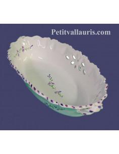 Corbeille à fruit ou à pain ovale ajourée en faience blanche décor artisanaux fleurs de lavande mauve-parme collection Nana'60