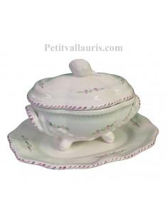 Soupière ovale sur pied avec plat en faience décor motifs artisanaux fleurs de lavande mauve-parme collection Nana'60
