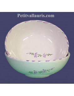Assiette en faience blanche creuse à soupe ou à salade décor artisanaux fleurs de lavande mauve-parme collection Nana'60