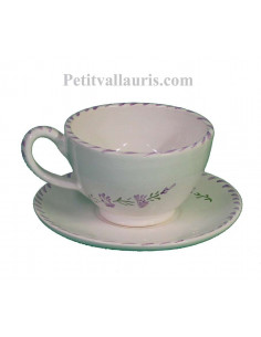 Tasse à thé avec sous tasse en faience blanche décor artisanaux fleurs de lavande mauve-parme collection Nana'60