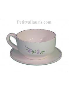 Tasse et sous tasse à déjeuner en faience blanchedécor artisanaux fleurs de lavande mauve-parme collection Nana'60