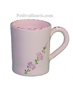 Chope - Mug en céramique blanche décor fleurs de lavande mauve-parme collection Nana'60 avec personnalisation possible
