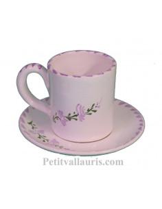 Tasse à café et sous tasse en faience blanche décor artisanaux fleurs de lavande mauve-parme collection Nana'60