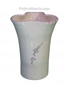 Vase modèle Glaïeul en faïence décor artisanal fleurs de lavande mauve-parme collection Nana'60