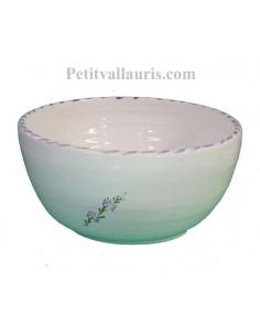 Petit saladier pour la table en faience blanche décor artisanal fleurs de lavande mauve-parme collection Nana'60