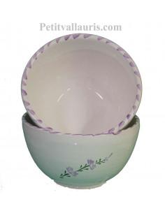 Bol simple en faïence blanche décor artisanal fleurs de lavande mauve-parme collection Nana'60