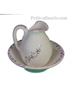petit Lave main miniature en faïence blanche décor artisanal fleurs de lavande mauve-parme collection Nana'60