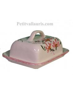Beurrier en faïence blanche et décor artisanal fleurs roses