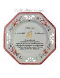 Grande assiette anniversaire 60 ans de Mariage modèle octogonale noces de diamant motifs fleurs roses