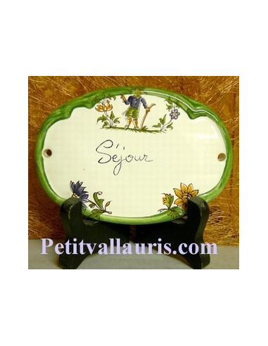Plaque ovale Séjour tradition vieux moustiers bleu Fin de série