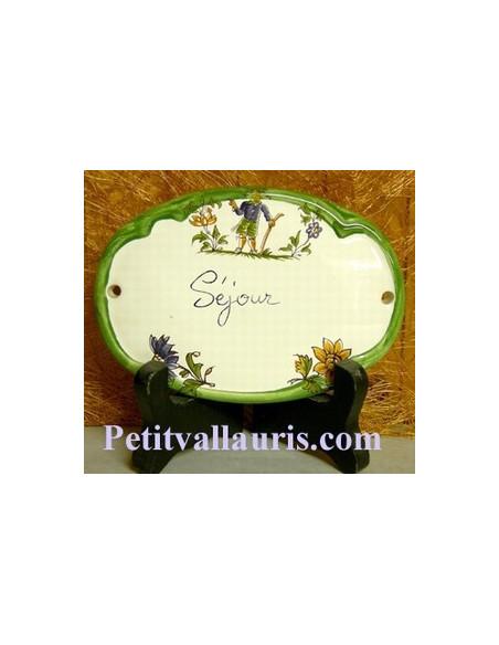 Plaque ovale Séjour tradition vieux moustiers polychrome Fin de série