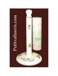Dérouleur de papier essuie-tout à poser en faience blanche décor reproduction moustiers polychrome