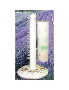 Dérouleur de papier essuie-tout à poser en faience blanche décor artisanal fleuri rose