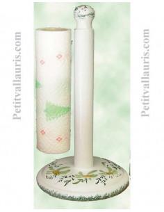Dérouleur de papier essuie-tout à poser en faience blanche décor artisanal fleuri vert