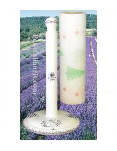Dérouleur de papier essuie-tout à poser en faience blanche décor reproduction moustiers bleu
