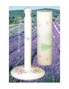 Dérouleur de papier essuie-tout à poser en faience blanche décor reproduction moustiers rose