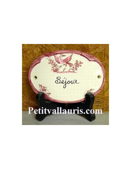 Plaque ovale Séjour tradition vieux moustiers rose Fin de série