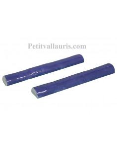 Listel de finition en faience modèle demi-rond fin émaillé couleur unie bleu lavande